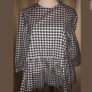 Victoria Beckham Checkered Shirt S Black White